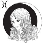 Pisces. A young beautiful girl In the form of one of the signs o Royalty Free Stock Image