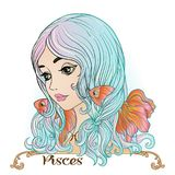 Pisces. A young beautiful girl In the form of one of the signs o Stock Photography