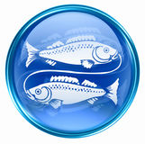Pisces zodiac button icon Stock Photos