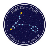 Pisces zodiac constellation in space. Cute cartoon style vector. Illustration. Round emblem with zodiac sign name and dates Royalty Free Stock Photo