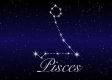 Pisces zodiac constellations sign on beautiful starry sky with galaxy and space behind. Fish sign horoscope symbol constellation. On deep cosmos background Stock Photos
