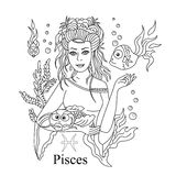 Pisces zodiac sign as a beautiful girl coloring page. Vector ill Royalty Free Stock Photo