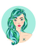 Pisces zodiac sign as a beautiful girl. Vector illustration of pisces zodiac sign as a beautiful girl Stock Images