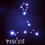 Pisces zodiac sign of the beautiful bright stars. On the background of cosmic sky Royalty Free Stock Photography