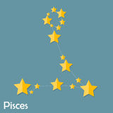 Pisces Zodiac Sign of the Beautiful Bright Stars. Vector Illustration EPS10 Royalty Free Stock Image