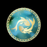 Pisces zodiac sign in circle frame Royalty Free Stock Photography