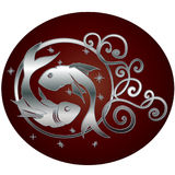 Pisces zodiac sign in circle frame royalty free illustration