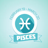 Pisces zodiac sign. In circular frame,  Illustration. Contour icon Stock Images