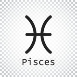 Pisces zodiac sign. Flat astrology vector illustration on isolat Royalty Free Stock Photo