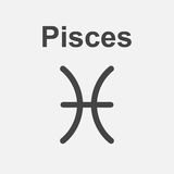 Pisces zodiac sign. Flat astrology vector illustration on white background Stock Images