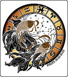 Pisces and the zodiac sign.Horoscope circle.Vector Stock Photos