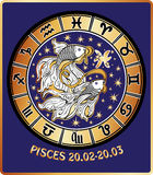 Pisces zodiac sign.Horoscope circle.Retro. Two fish hold mouth tape behind them are symbols of all zodiac signs Horoscope circle.Golden and white figure on blue Stock Photography