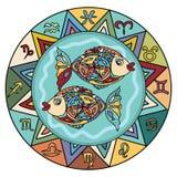 Pisces  Zodiac Sign. With Horoscope symbols Stock Photography