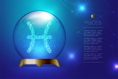 Pisces Zodiac sign in Magic glass ball, Fortune teller concept design illustration. On blue gradient background with copy space, vector eps 10 Stock Photography