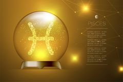 Pisces Zodiac sign in Magic glass ball, Fortune teller concept design illustration. On gold gradient background with copy space, vector eps 10 Royalty Free Stock Image