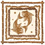 Pisces Zodiac Sign on Native Tribal Leather Frame. Pisces Zodiac Sign on Native Tribal and Grunge Leather Frame. Original Vector Graphic Art Copyright Royalty Free Stock Photography
