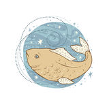 Pisces zodiac sign. Vector illustration isolated on white Stock Photography