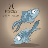 Pisces zodiac sign in vector with two cartoon fishes. Pisces zodiac sign for horoscope in vector with two fishes swim in different directions Royalty Free Stock Photo