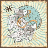 Pisces zodiac sign.Vintage Horoscope card Royalty Free Stock Image