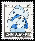 Pisces, Zodiac signs serie, circa 1996. MOSCOW, RUSSIA - FEBRUARY 21, 2019: A stamp printed in Poland shows Pisces, Zodiac signs serie, circa 1996 stock photos