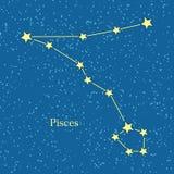 Pisces Zodiac Symbol on Background of Cosmic Sky Royalty Free Stock Photography