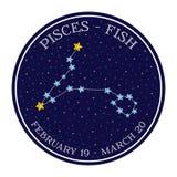 Pisces zodiaka gwiazdozbiór w przestrzeni Śliczny kreskówka stylu wektor Zdjęcie Royalty Free