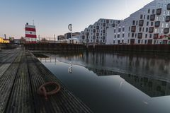 Piscina al aire libre del puerto de Odense, Dinamarca Foto de archivo