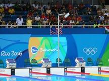 Piscina al centro acquatico olimpico durante Rio 2016 giochi olimpici immagini stock
