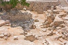 Piscina antigua de las ruinas de Bethesda en la ciudad vieja de Jerusalén Imagen de archivo libre de regalías