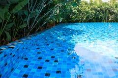 Piscina azul ao redor com ajardinar o jardim verde Imagens de Stock Royalty Free