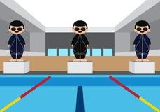 Piscina com ilustração do vetor do atleta da natação Fotografia de Stock