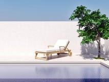 Piscina com imagem gerada por computador 3d da árvore do sol do céu azul ilustração stock