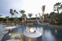 Piscina com Live Flame Heater imagem de stock