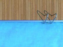 Piscina com plataforma de madeira Fotografia de Stock