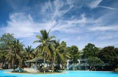 Piscina con las palmas y las nubes de coco Imagen de archivo