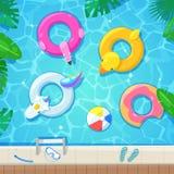 Piscina con los flotadores coloridos, ejemplo del vector de la visión superior Embroma los juguetes inflables flamenco, pato, buñ stock de ilustración
