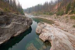 Piscina de color verde oscuro del agua inmóvil en la garganta de la cala del prado en el área de Bob Marshall Wilderness en Monta Fotografía de archivo libre de regalías