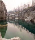 Piscina de color verde oscuro del agua inmóvil en la garganta de la cala del prado en el área de Bob Marshall Wilderness en Monta Fotos de archivo