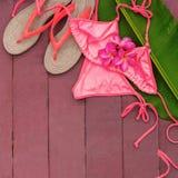 Piscina de hoja de palma del Frangipani rosado del traje de baño Fotos de archivo libres de regalías