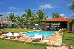 Piscina de la casa con palmtrees e hierba Imagenes de archivo