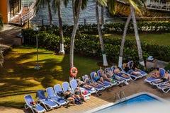 Piscina del hotel del acuario de Decameraon en San Andres Island Fotos de archivo libres de regalías