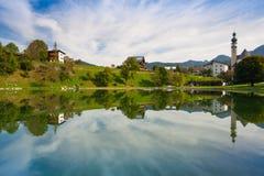 Piscina della natura in Reith, Austria Fotografia Stock