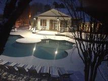 Piscina di inverno della neve Fotografie Stock Libere da Diritti