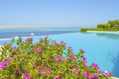 Piscina di lusso con la vista del mare Fotografia Stock