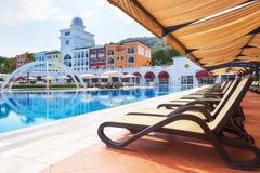 Piscina e praia do hotel de luxo Datilografe o complexo do entretenimento Amara Dolce Vita Luxury Hotel recurso Tekirova Foto de Stock Royalty Free