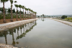 Piscina en Budha Eden Garden en Bombarral, Portugal Imagenes de archivo