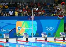 Piscina en el centro acuático olímpico durante Río 2016 Juegos Olímpicos Imágenes de archivo libres de regalías