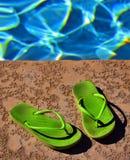 Piscina Flip Flops Sandals Summer Fun Imagenes de archivo
