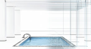 Piscina luxuosa com fio-frame ilustração stock