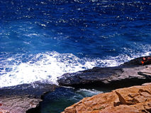 Piscina natural de Giola en la isla de Thassos, Grecia Foto de archivo libre de regalías